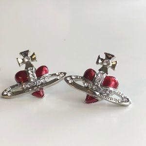 Vivienne Westwood Dupe Red Heart Orb Earrings